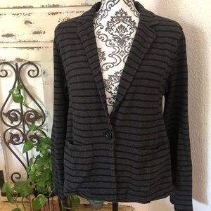 Caslon black and gray sweater blazer with pockets